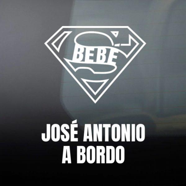 "Pegatina Bebé a Bordo ""Super Bebé"" en blanco"