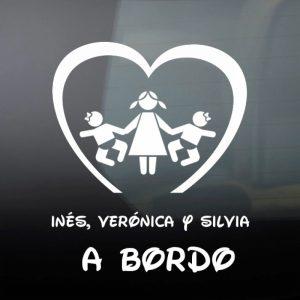 "Pegatina de Vinilo  ""Bebé a bordo – Tres hermanas"""