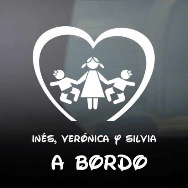 Pegatina Bebé a Bordo - Tres Hermanas en blanco