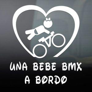 """Pegatina de Vinilo  """"Bebé a bordo – BMX Chica"""