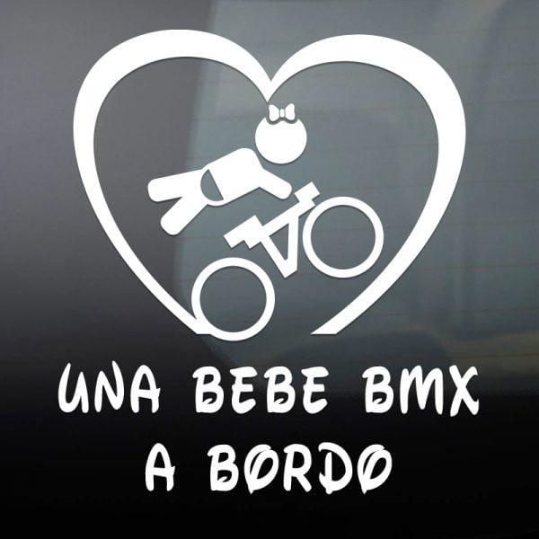 Pegatina Bebé a Bordo BMX Chica en blanco