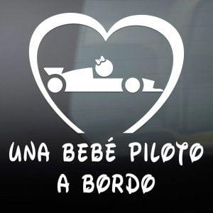 """Pegatina de Vinilo  """"Bebé a bordo – Chica Piloto Formula 1"""