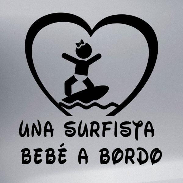 Pegatina Bebé a Bordo Chica Surfista en negro