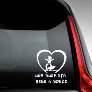 Pegatina de Vinilo  «Bebé a bordo – Chica Surfista
