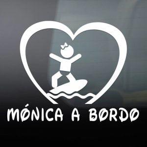 """Pegatina de Vinilo  """"Bebé a bordo – Chica Surfista"""