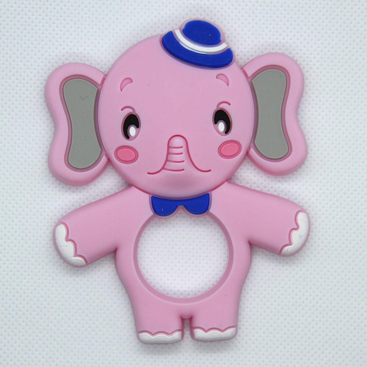 Mordedor de silicona Elefante rosa