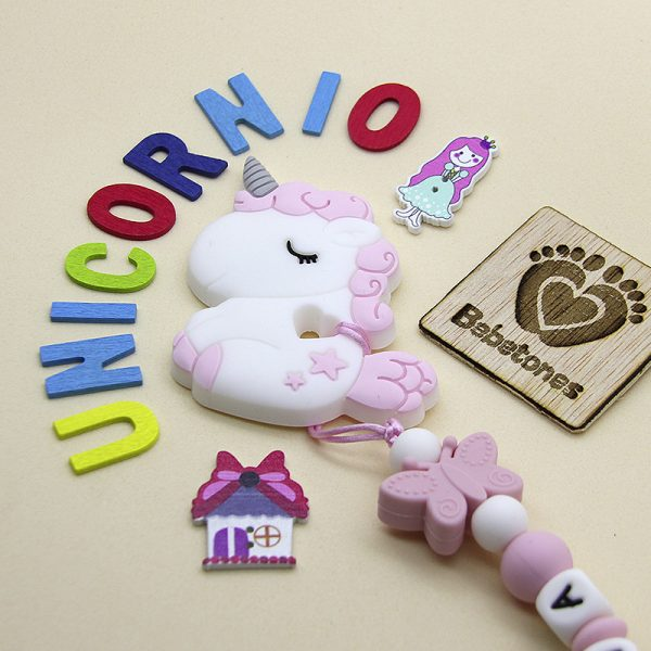 Mordedor de silicona Unicornio Baby con chupetero