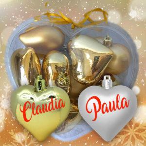 Pack de 9 Corazones De Navidad Personalizados