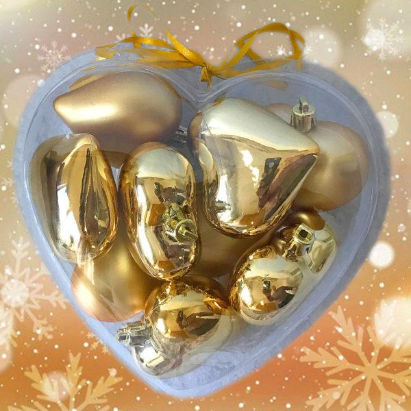 Caja con 9 corazones de oro