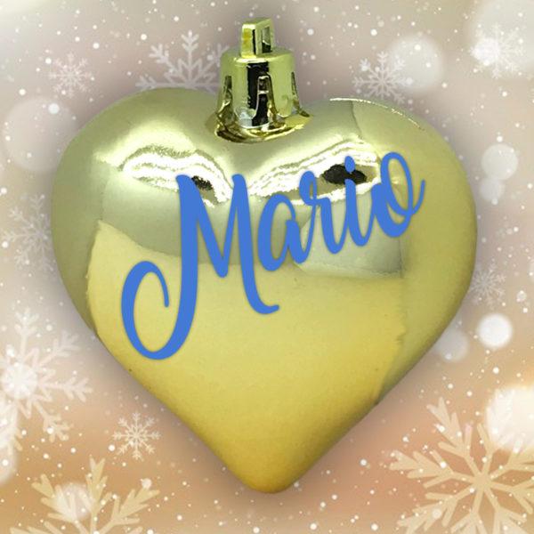 Adorno Navidad Corazón Oro Brillo con letras azules
