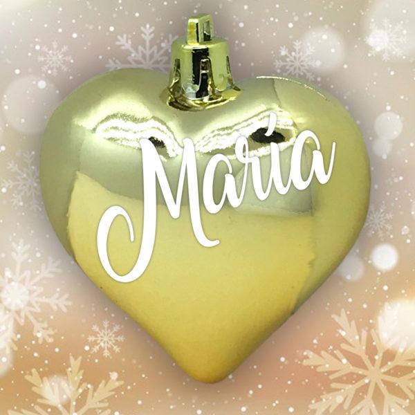 Adorno Navidad Corazón Oro Brillo con letras blancas