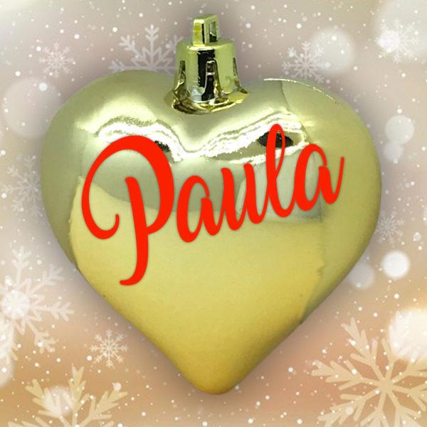 Adorno Navidad Corazón Oro Brillo con letras rojas