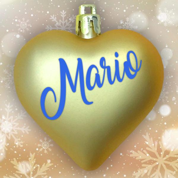 Adorno Navidad Corazón Oro Mate con letras azul