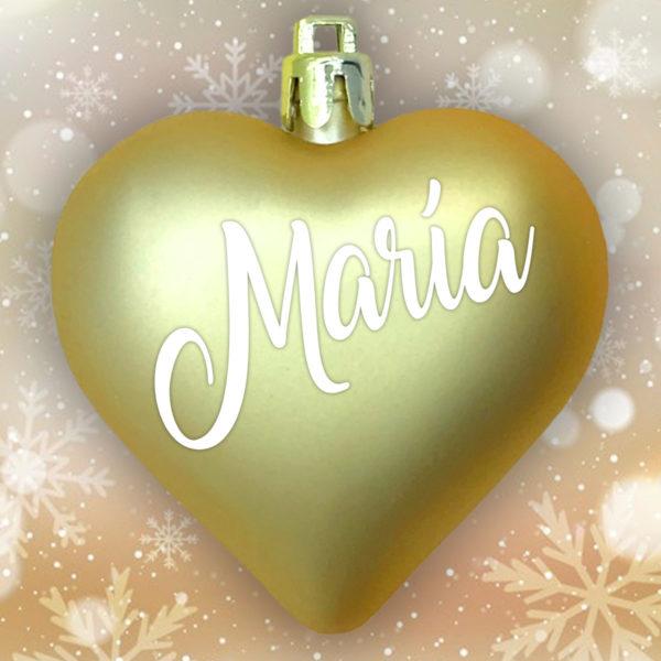 Adorno Navidad Corazón Oro Mate con letras blancas