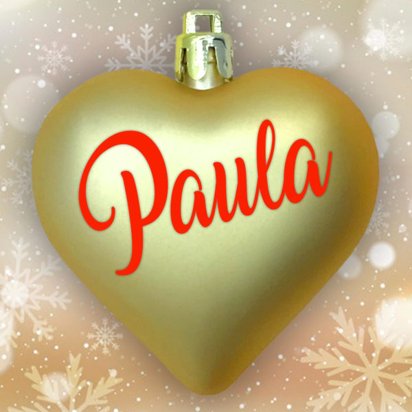 Adorno Navidad Corazón Oro Mate con letras rojas