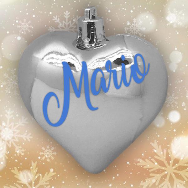 Adorno Navidad Corazón Plata Brillo con letras azules