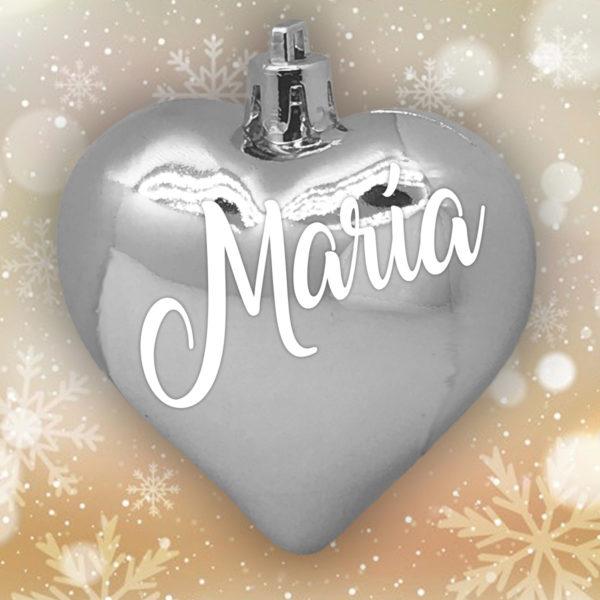 Adorno Navidad Corazón Plata Brillo con letras blancas