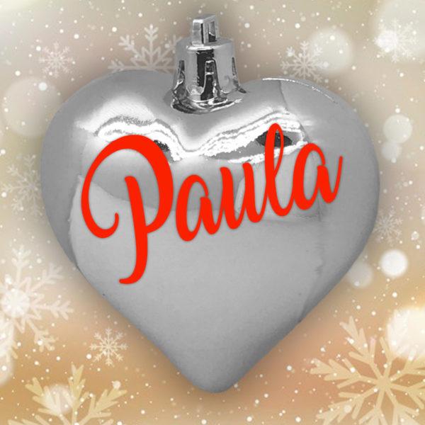 Adorno Navidad Corazón Plata Brillo con letras rojas