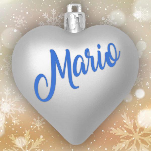 Adorno Navidad Corazón Plata Mate con letras azules