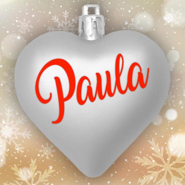 Adorno Navidad Corazón Plata Mate con letras rojas