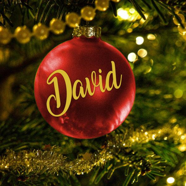 Bola Arbol Navidad Personalizada - Rojo Brillo en arbol