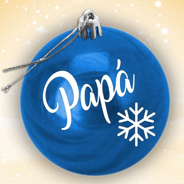 Bola Arbol Navidad Personalizada - Azul Brillo con letras en blanco