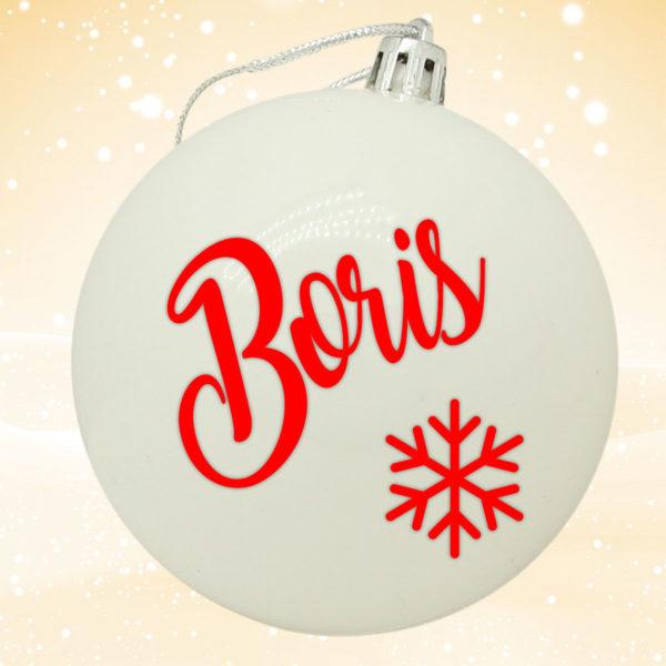 Bola Arbol Navidad Personalizada - Blanca Brillo con letras en rojo