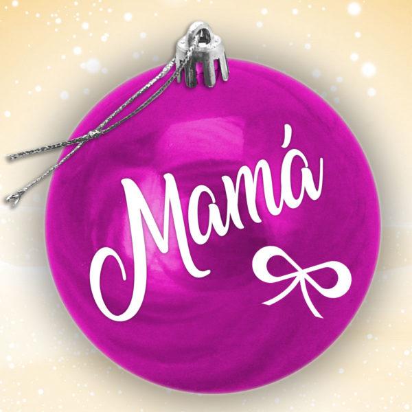 Bola Arbol Navidad Personalizada - Morado Brillo con letras en blanco