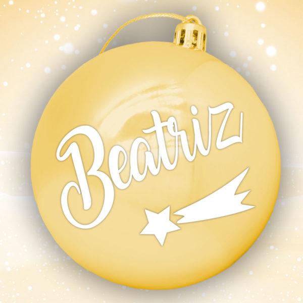 Bola Arbol Navidad Personalizada - Oro Brillo con letras en blanco