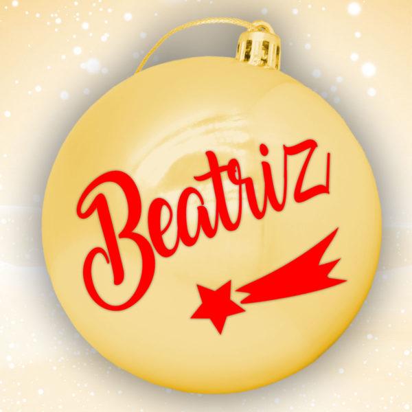 Bola Arbol Navidad Personalizada - Oro Brillo con letras en rojo