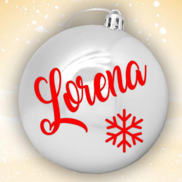 Bola Arbol Navidad Personalizada - Plata Brillo con letras en rojo