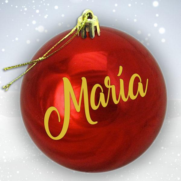 Bola Arbol Navidad Personalizada - Rojo Brillo