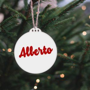 Bola blanca para árbol de navidad de metacrilato 7.5x8cm