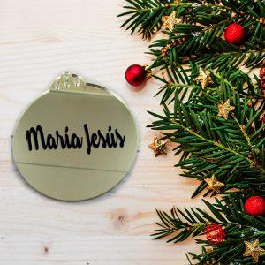 Bola dorada navidad con nombre metacrilato 7.5x8cm