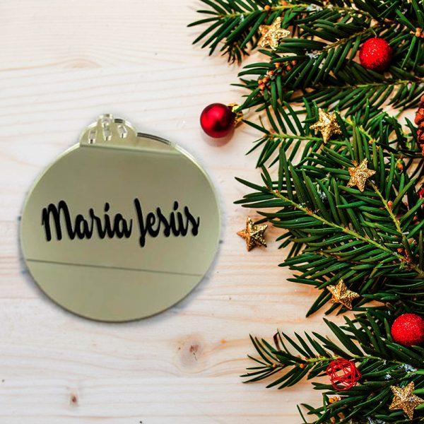 Bola navidad dorada de metacrilato decorada