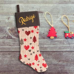 Calcetín de Navidad Personalizado – Bosque Navideño – Gris