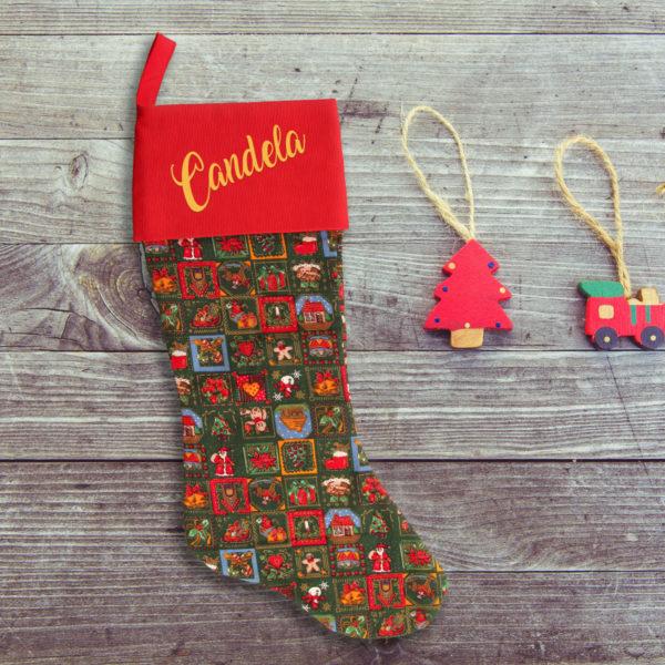 Calcetín personalizado de navidad - Noche Bunena, con nombre en oro