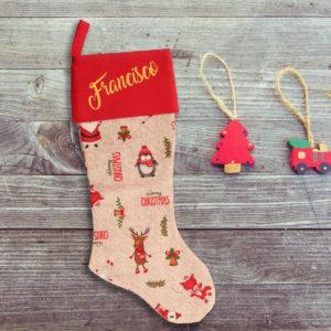 Calcetín de Navidad Personalizado – Pingüinos