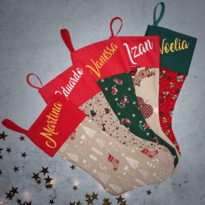 Calcetín de Navidad Personalizado – Bosque Navideño – Rojo