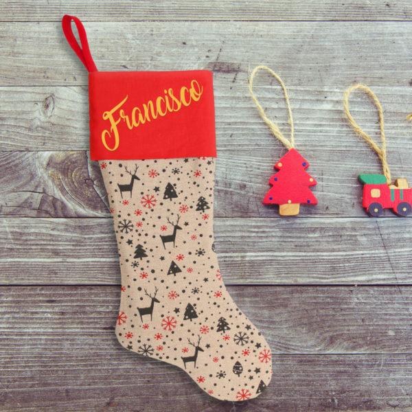 """Calcetín de Navidad """"Dulce Navidad"""" - personalizado con nombre en Oro"""