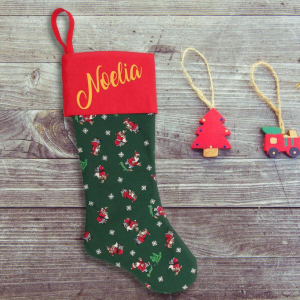 Calcetín de Navidad Papá Noel - personalizado con nombre en Oro