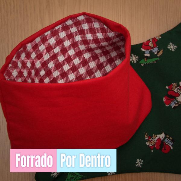 Calcetín de Navidad Papá Noel - personalizado con nombre en Oro Forrado por dentro