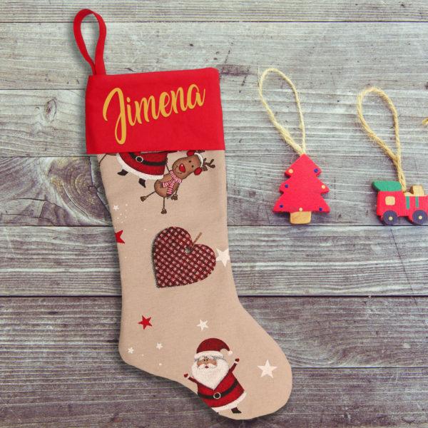 Calcetín de Navidad Rodolfo - personalizado con nombre en Oro