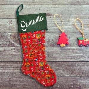 Calcetín de Navidad Personalizado – Calendario de Adviento Red