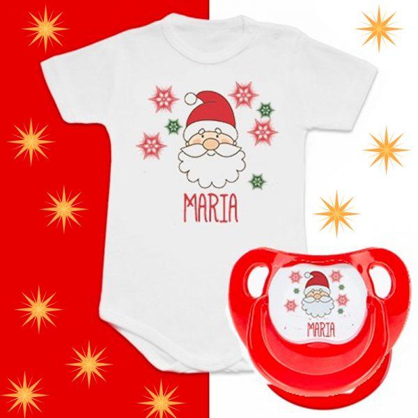 Pack Body + Chupete con Papá Noel - Personalizado con nombre