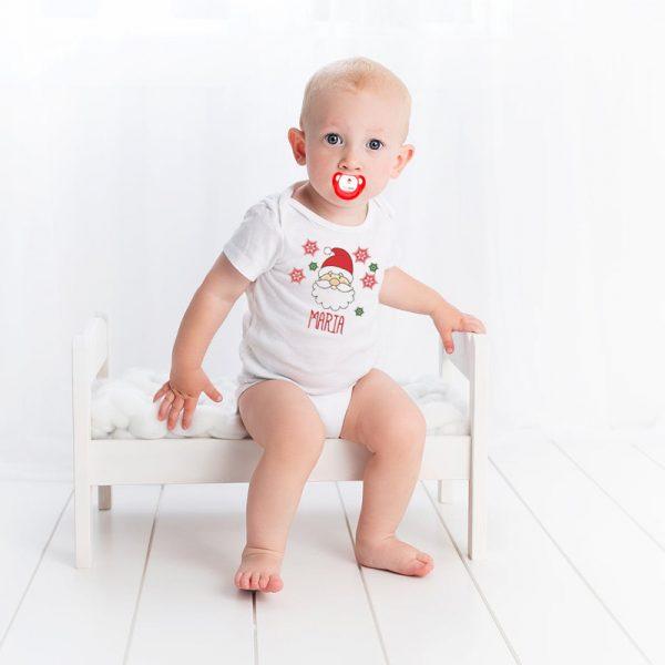 Bebé con Body + Chupete con Papá Noel - Personalizado con nombre