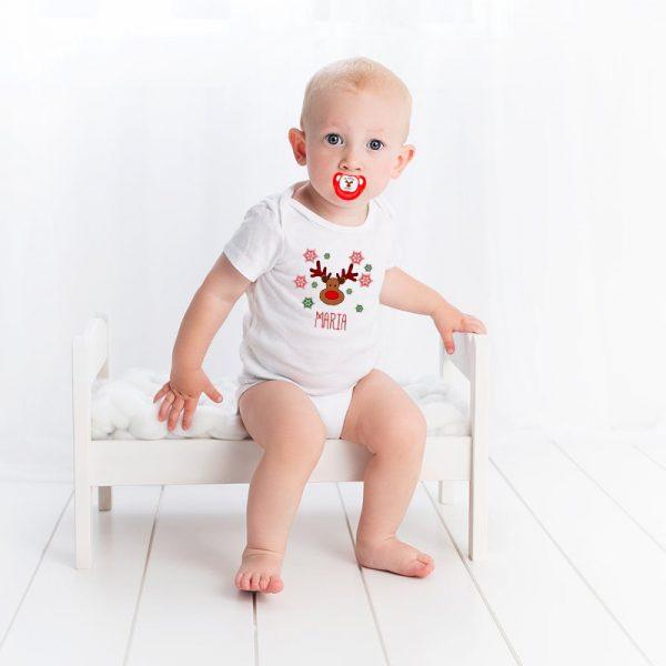 Bebé con Body + Chupete con Rodolfo - Personalizado con nombre
