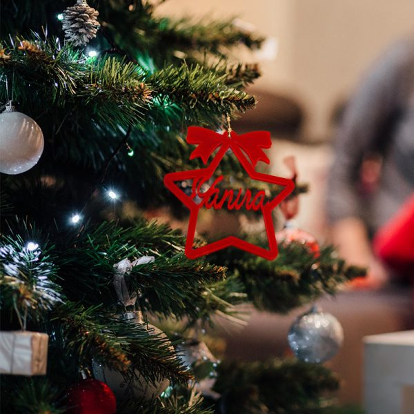 Estrella Roja de metarcilato con arbol de navidad