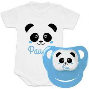 "Pack Body + Chupete ""Panda Blue"" – Personalizados con Nombre"