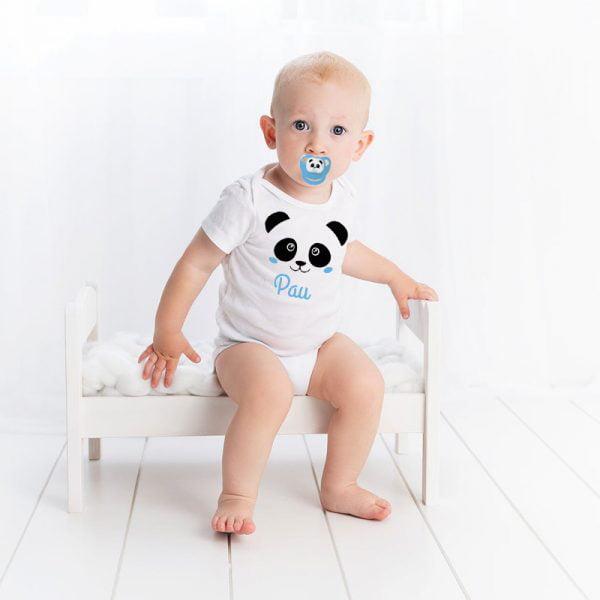 Pack de Body y Chupete Panda Blue con Bebé